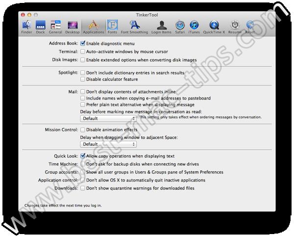 TinkerTool applications
