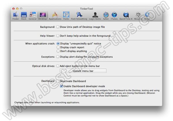 TinkerTool desktop