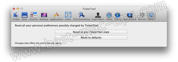 TinkerTool reset