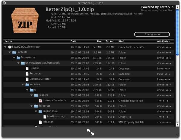 BetterZipQL screenshot