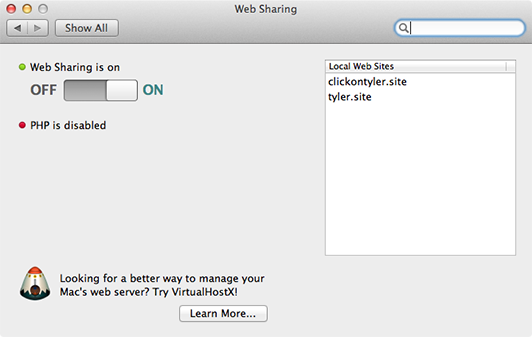 Web Sharing OS X