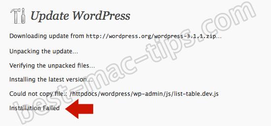 Wordpress permissions error