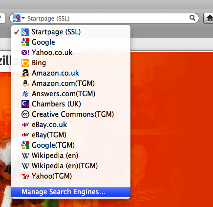Changing default browser search engines