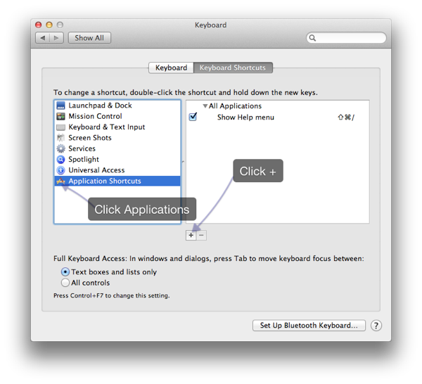 Changing default application keyboard shortcuts in OS X