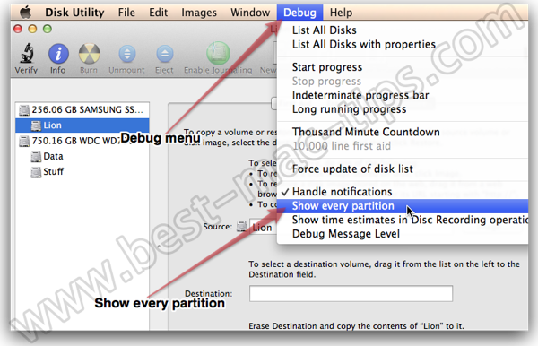 Show hidden partitions on OS X