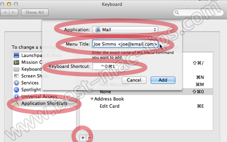 Adding keyboard shortcuts for outgoing Mail accounts