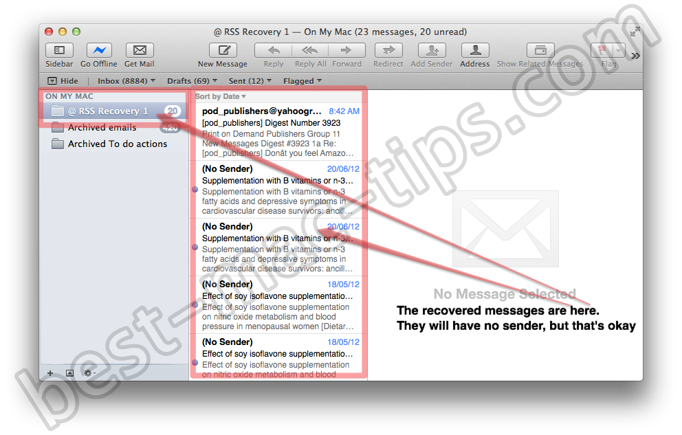 Recover RSS feeds from Apple Mail