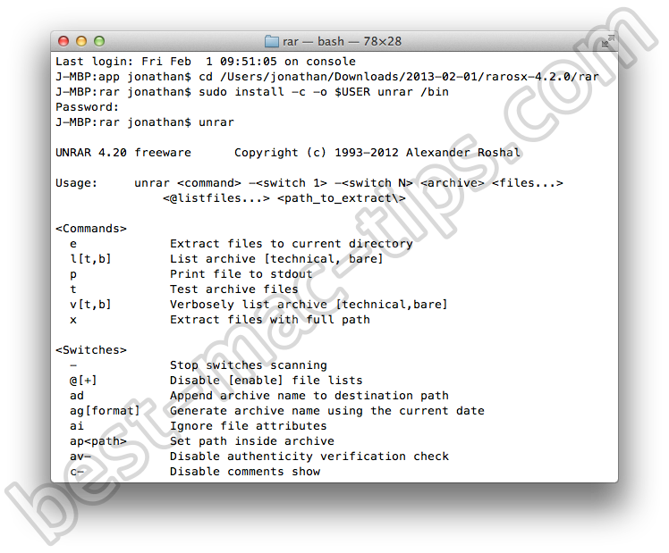 Extracting RAR archives in the command line on Mac OS X